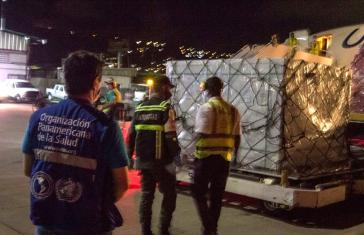 "Ankunft der ersten Covax-Lieferung am 7. September auf dem Internationalen Flughafen Maiquetía ""Simón Bolívar"""