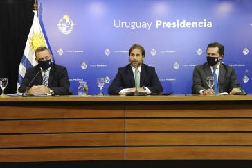 Uruguays Präsident, Luis Lacalle Pou, bei der Pressekonferenz zum Covid-19-Impfstoff-Deal mit Pfizer
