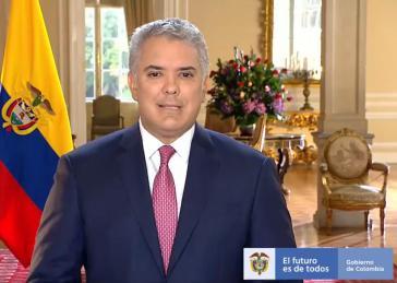 Zufrieden mit sich und seiner Regierung: Duque bei seiner Ansprache am 7. August 2021, dem 3. Jahrestag seines Amtsantritts
