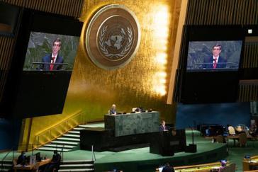 Kubas Außenminister Bruno Rodríguez Parrilla bei seiner Rede vor der UNO am 23. Juni