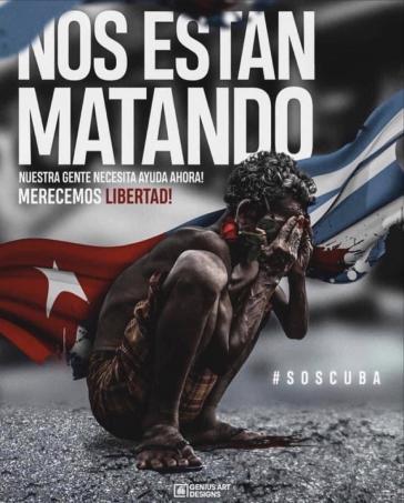 """""""Sie töten uns"""": Eins von zahllosen Bildern der Kampagne gegen Kuba in den sozialen Netzwerken, beigesteuert vom Werbestudio """"genius art designs"""" in Miami"""