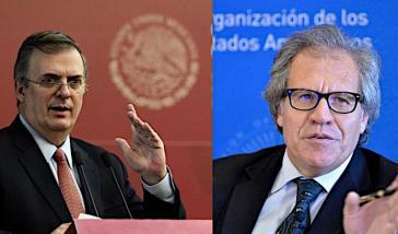 Mexikos Außenminister Marcelo Ebrard (links im Bild) und OAS-Generalsekretär Luis Almagro