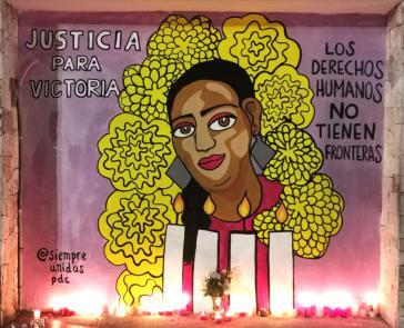 """Wandbild in Mexiko: """"Gerechtigkeit für Victoria ‒ für die Menschenrechte gibt es keine Grenzen"""""""