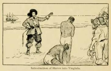 """Aus einem US-Geschichtsbuch von 1903: """"Im Jahr 1619 wurden Schwarze nach Jamestown gebracht und als Sklaven verkauft"""""""