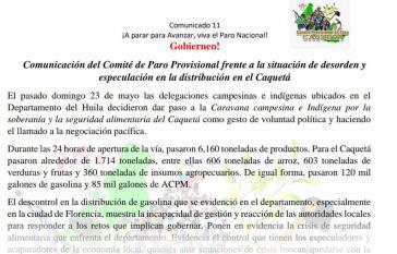 Das provisorische Streikkomitee Caquetá äußert sich zur Versorgungslage