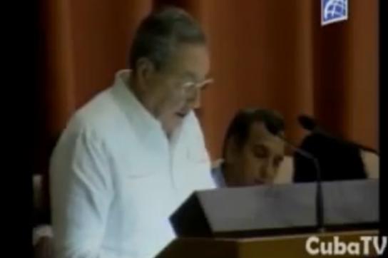 Raúl Castro bei seiner Rede