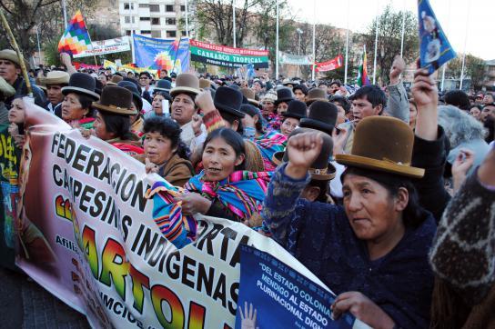 Protest der CSUTCB in La Paz
