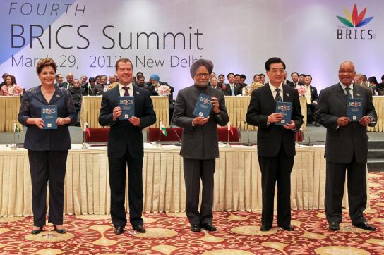 Die Teilnehmer am Gipfel der BRICS-Staaten