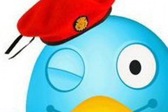 Twitter-Maskottchen mit Chávez' rotem Barett