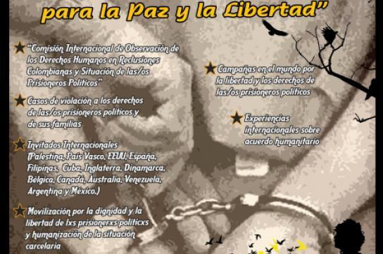 Plakat des internationalen Treffens zum Thema politische Gefangene in Kolumbien