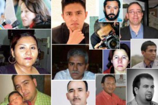 Bilder von ermordeten Journalisten in Mexiko