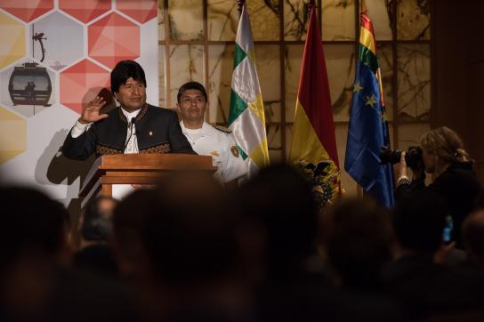 Boliviens Präsident Morales am Montag vor Wirtschaftsvertretern in New York