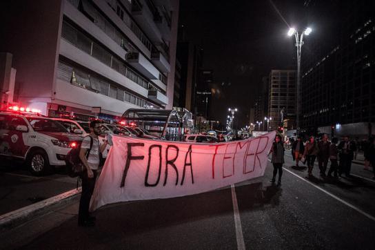 Temer raus! – Protest in São Paulo, Brasilien