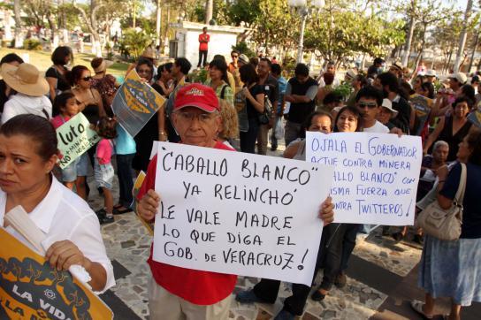 Protestierende mit Bannern über das Bergbauvorhaben Caballo Blanco