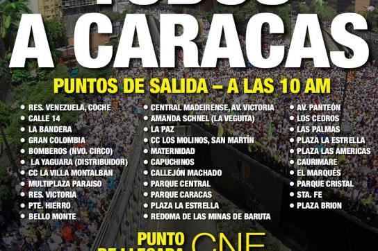 MUD-Aufruf für den 19. Juni zum Marsch Wahlrates in Caracas, Vebezuela