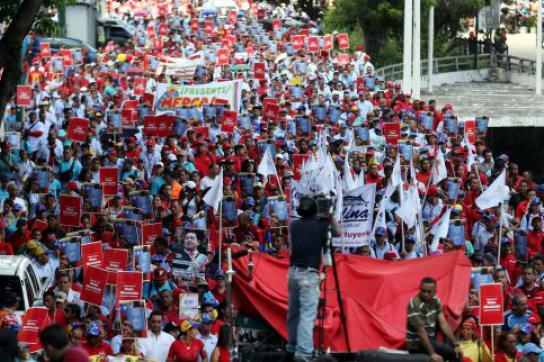 Protestzug von Ernährungsministerium in Caracas, Venezuela