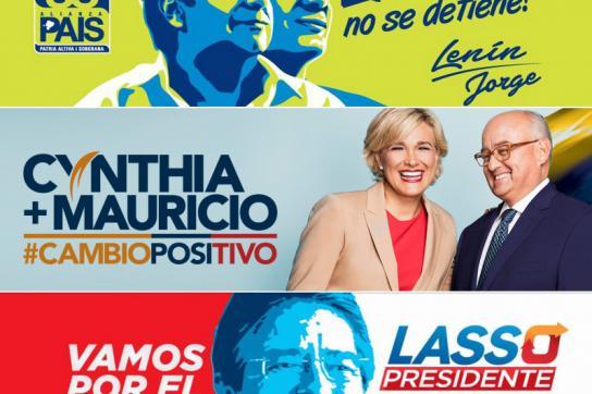 Plakate aus dem Wahlkampf in Ecuador