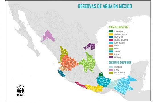 Eine Landkarte Mexikos mit eingezeichneten Wassergebieten