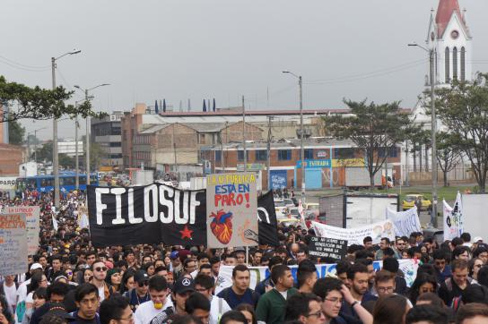 Studierendenprotest an der UNAL in Bogotá