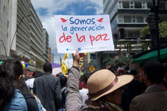 """Demonstrationsplakat """"Somos la generación de la paz"""""""