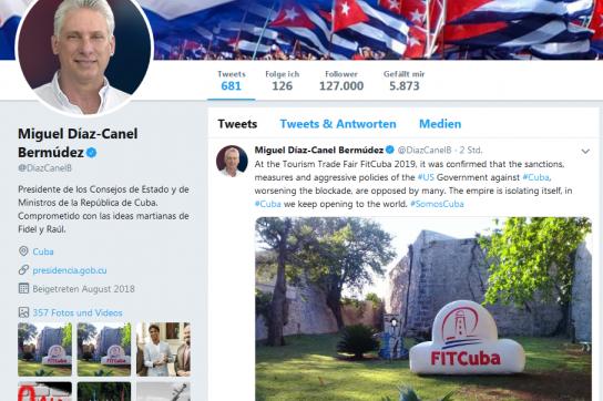 Díaz-Canel twittert Dank für Solidarität